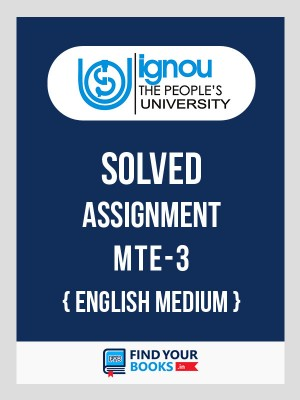 BSc MTE-3 in English Solved Assignment 2019-20