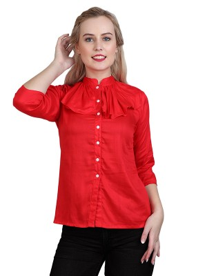 Sritika Solid Red Rayon Top