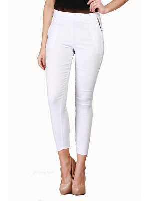 Magnogal Women Solid WHITE JEGGING BO-100 B