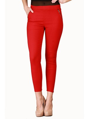Magnogal Women Solid RED JEGGING BO-100 C