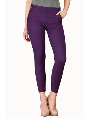Magnogal Women Solid PURPLE JEGGING BO-100 D