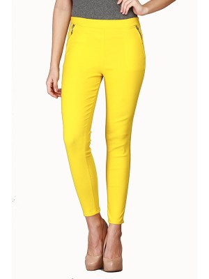 Magnogal Women Solid YELLOW JEGGING BO-100 E