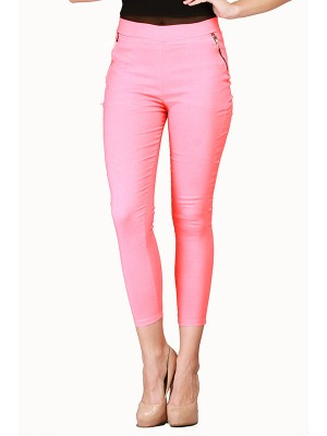 Magnogal Women Solid PINK JEGGING BO-100 F