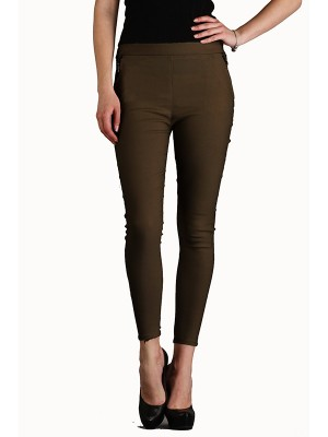 Magnogal Women Solid BROWN JEGGING BO-100 H