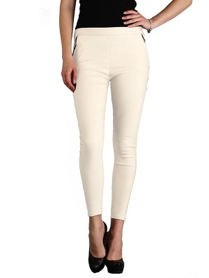 Magnogal Women Solid CREAM JEGGING BO-100 J
