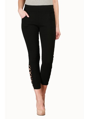 Magnogal Women Solid Z BLACK JEGGING BO-100 K
