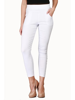 Magnogal Women Solid WHITE JEGGING BO-100 L