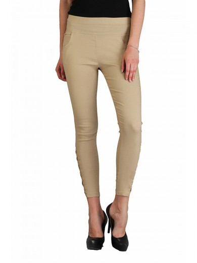 Magnogal Women Solid BEIGE JEGGING BO-100 M