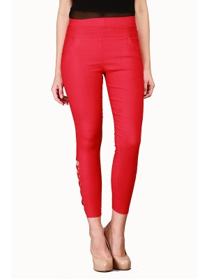 Magnogal Women Solid RED JEGGING BO-100 N