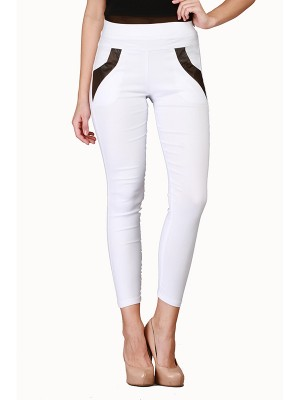 Magnogal Women Solid WHITE JEGGING BO-100 Q