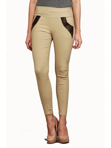 Magnogal Women Solid BEIGE JEGGING BO-100 R