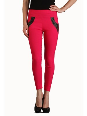 Magnogal Women Solid RED JEGGING BO-100 S