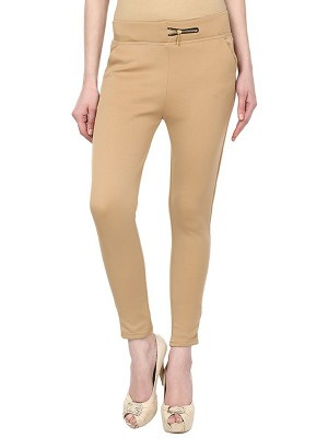Magnogal Women Solid BEIGE JEGGING BO-100 V