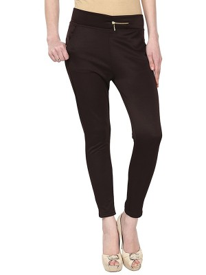Magnogal Women Solid BROWN JEGGING BO-100 W