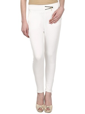 Magnogal Women Solid OFF WHITE JEGGING BO-101 B