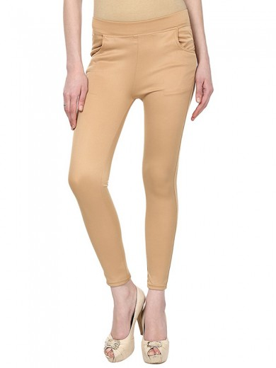 Magnogal Women Solid BEIGE JEGGING BO-101 C