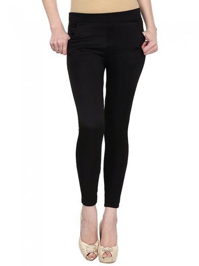 Magnogal Women Solid BLACK JEGGING BO-101 E