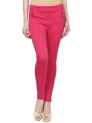 Magnogal Women Solid PINK JEGGING BO-101 F