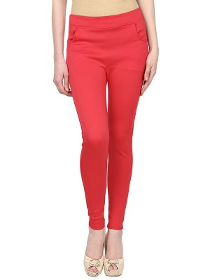 Magnogal Women Solid RED JEGGING BO-101 H