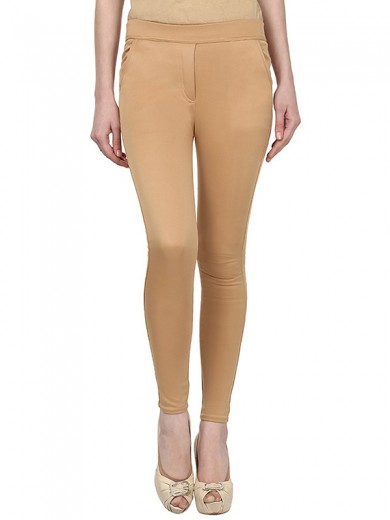 Magnogal Women Solid BEIGE JEGGING BO-101 I