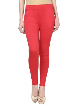 Magnogal Women Solid RED JEGGING BO-101 M