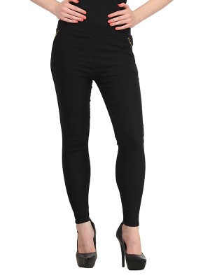 Magnogal Women Solid BLACK JEGGING BO-101 N