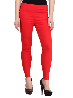 Magnogal Women Solid RED JEGGING BO-101 P