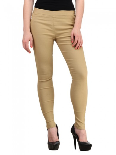 Magnogal Women Solid BEIGE JEGGING BO-101 Q