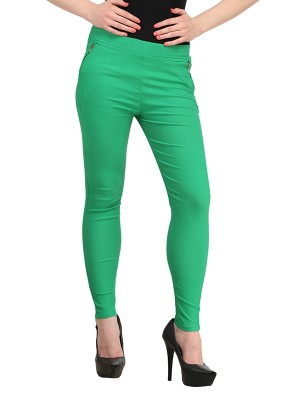Magnogal Women Solid GREEN JEGGING BO-101 S