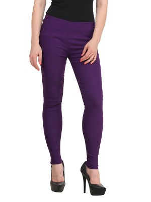 Magnogal Women Solid PURPLE JEGGING BO-101 T