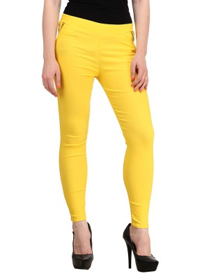 Magnogal Women Solid YELLOW JEGGING BO-101 U