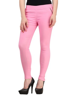 Magnogal Women Solid BABY PINK JEGGING BO-101 W