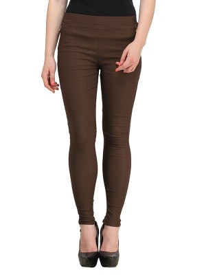 Magnogal Women Solid BROWN JEGGING BO-101 Y