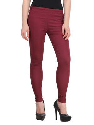 Magnogal Women Solid MAROON JEGGING BO-101 ZZ