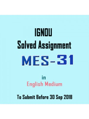 IGNOU MES-031 Solved Assignment English 2018