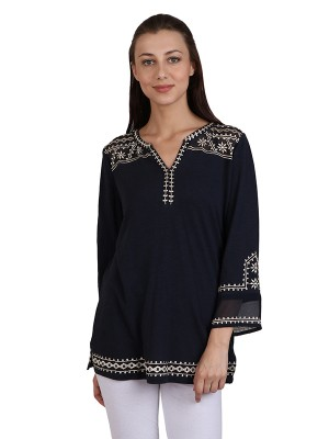 Casual Sleeve Solid Women's Dark Navy Blue Designer Top
