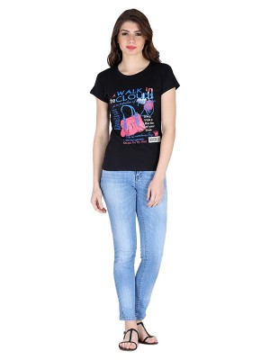 Magnogal Black printed cotton lycra T-shirt TS-10 E