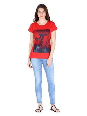 Magnogal Red printed cotton lycra T-shirt TS-10 F