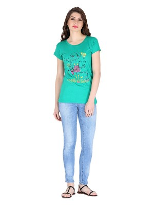 Magnogal Green printed cotton lycra T-shirt TS-10 G