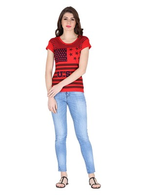 Magnogal Red printed cotton lycra T-shirt TS-10 H