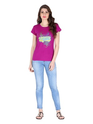 Magnogal Pink printed cotton lycra T-shirt TS-10 I
