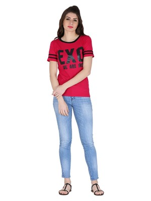 Magnogal Red printed cotton lycra T-shirt TS-10 K