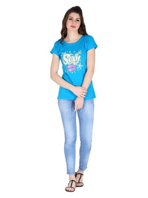 Magnogal Turquoise printed cotton lycra T-shirt TS-10 M