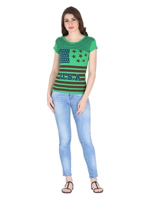 Magnogal Green printed cotton lycra T-shirt TS-10 P