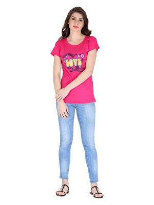 Magnogal Pink printed cotton lycra T-shirt TS-10 Q