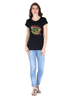Magnogal Black printed cotton lycra T-shirt TS-10 R
