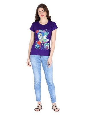 Magnogal Purple printed cotton lycra T-shirt TS-10 S