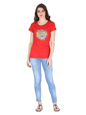 Magnogal Red printed cotton lycra T-shirt TS-10 T