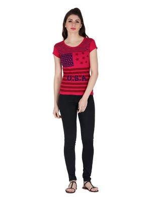 Magnogal Red printed cotton lycra T-shirt TS-11 E