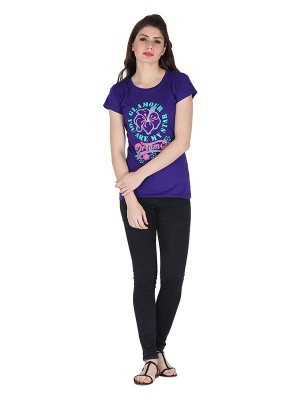 Magnogal Purple printed cotton lycra T-shirt TS-1 K